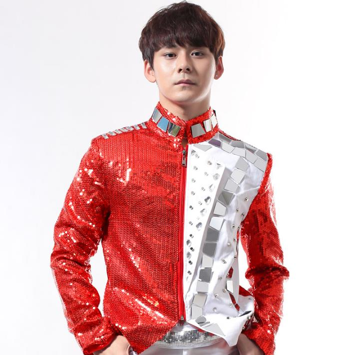 Red rock men suit designs masculino homme terno stage costumes for singers men sequin blazer dance clothes jacket style dress