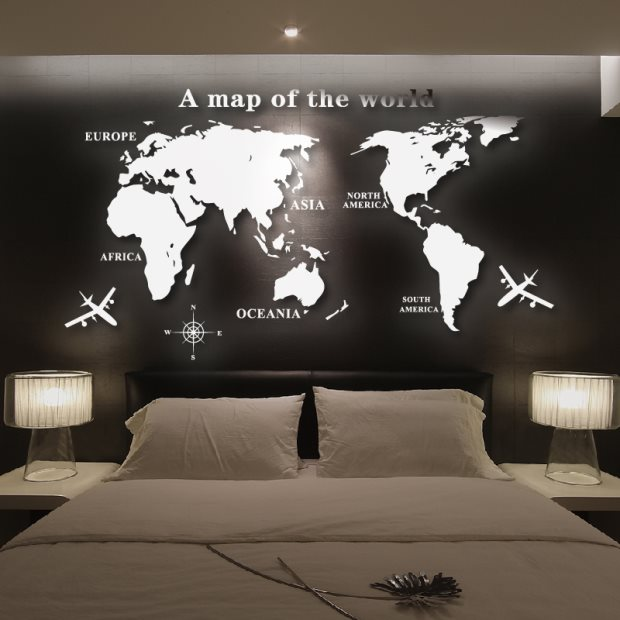 Mirror sticker home decor diy world map mirror wall for Stickers miroir
