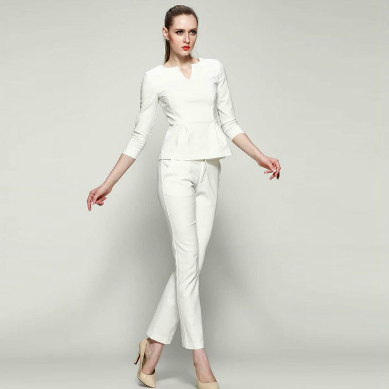 Aliexpress.com : Buy Fashion Stretch Cotton Women White Pant Suits ...