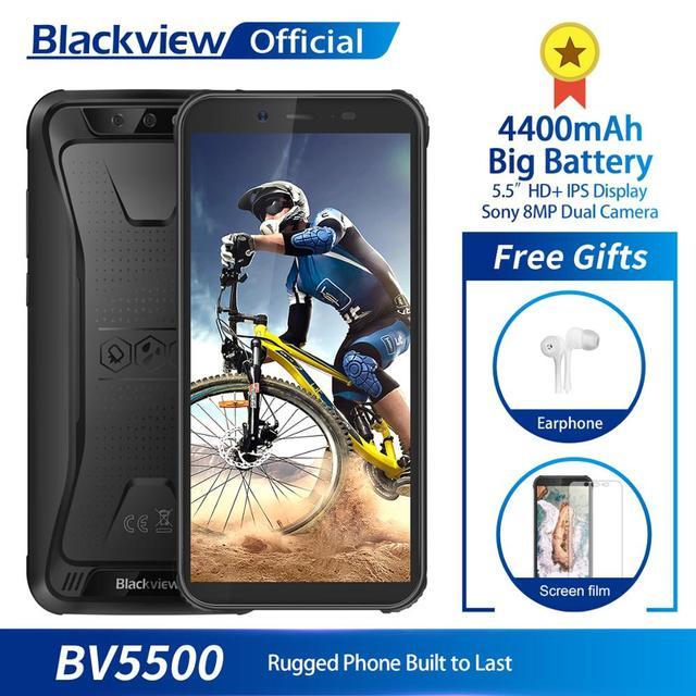 "Blackview BV5500 водонепроницаемый мобильный телефон с IP68 MTK6580P 2 ГБ + 16 5,5 ""18:9 экран 8,1 мАч Android 4400 Dual SIM прочный смартфон"
