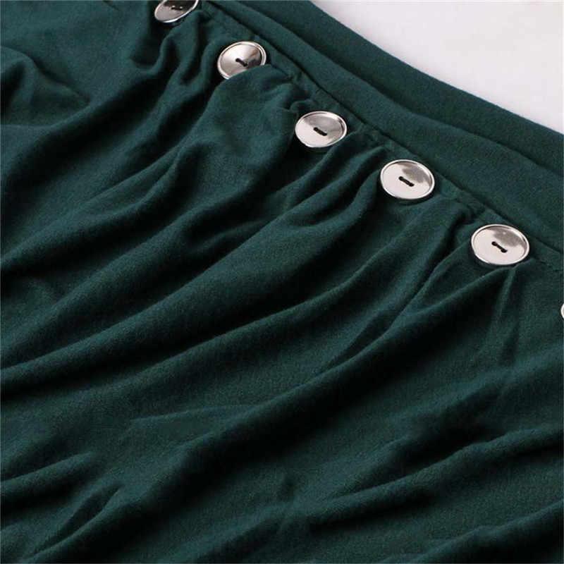 Осенняя женская футболка с круглым вырезом, с рюшами, на пуговицах, Однотонная футболка, Женский пуловер с длинными рукавами, Тонкая Повседневная футболка, Топы, черный/красный/зеленый