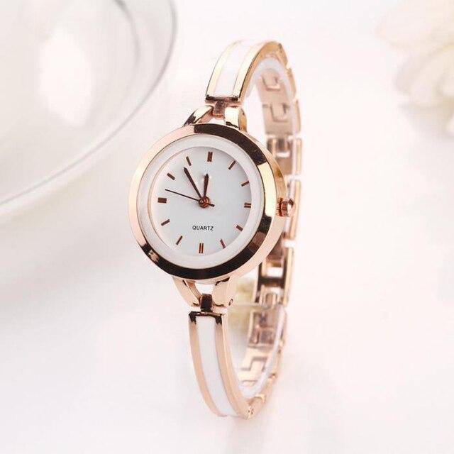 2 Colors Simple Clock Fashion Women Slim Bracelet Watches Ladies Casual Dress Wr