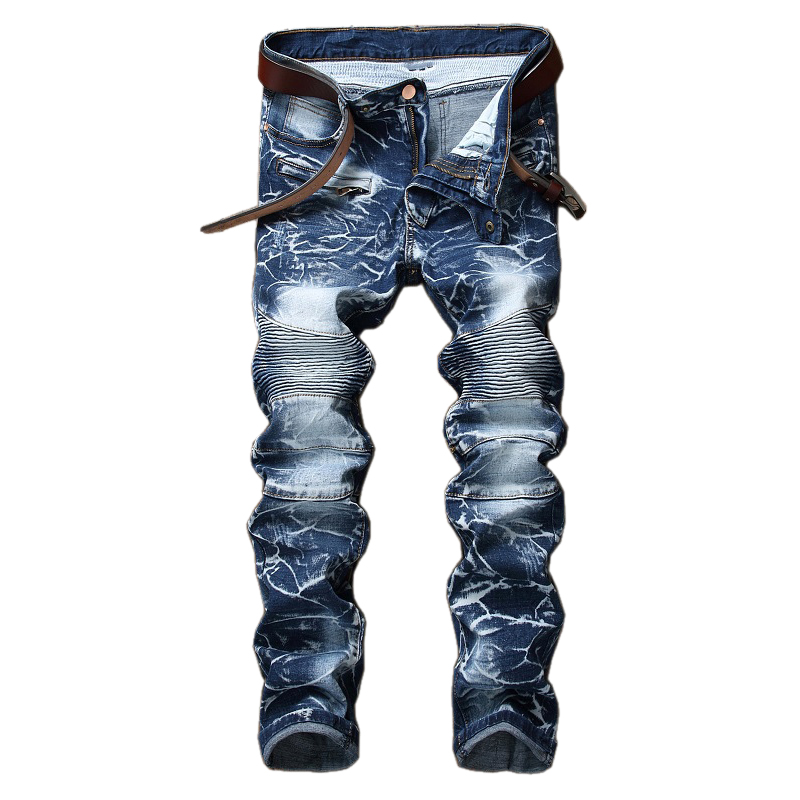 LASPERAL Men Distressed Motocycle Fashion Brand Designer Ripped Jeans Denim Joggers Washed Pleated Straight Jeans Pants 2016 new hi street slim fit ripped jeans for men washed distressed denim joggers brand designer jeans pants with ankle sizem xxl