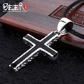 Free give black rope Beier 925 silver sterling retro classic cross pendant necklace fashion man Jewelry  A1010