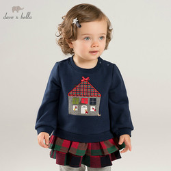 DB8450 dave bella autumn baby girls with ruffles clothes children long sleeve t-shirt infant toddler high quality clothing