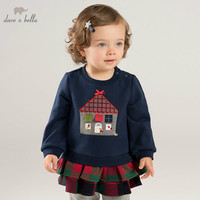 DB8450 dave bella autumn baby girls with ruffles clothes children long sleeve t shirt infant toddler high quality clothing