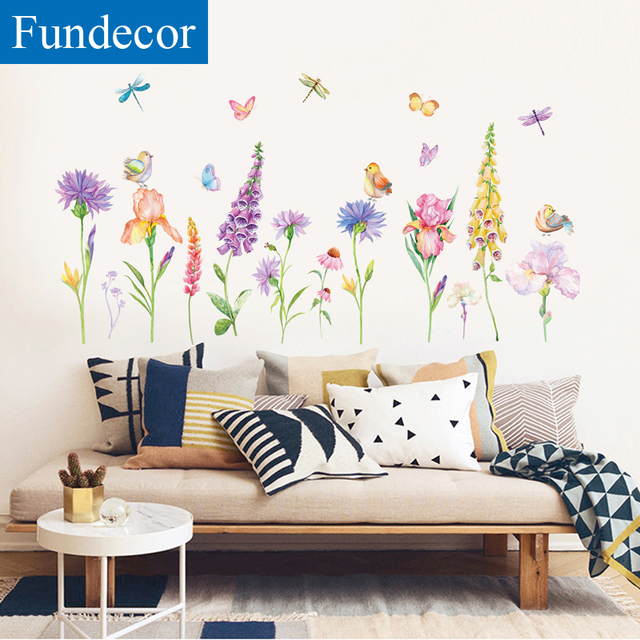 Fundecor Diy Spring Decoration Wall Stickers Flowers Bedroom Living