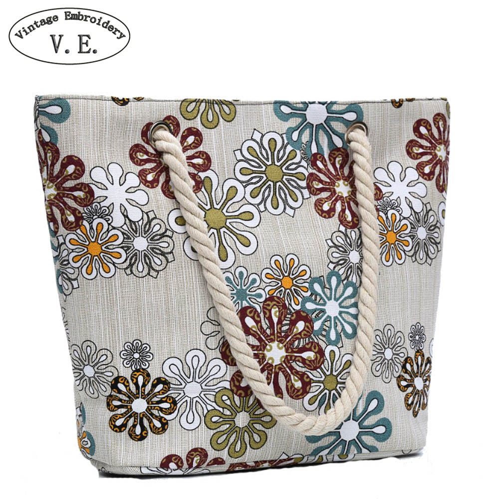 Vintage Embroidery Women Handbag Beach Bag Floral Floral Print Canvas Boho Shoulder Bag Lady Single Shoulder Bag Shopping Totes 50 pcs crystal clear cello bags 39 5 cm x 45cm self adhesive opp cellophane bags