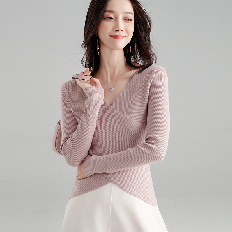 f397f7164ba Knitted Pullover Women 2018 Autumn Fashion Wool Pullovers Irregular Korean  V Neck Solid Sexy Pull Femme