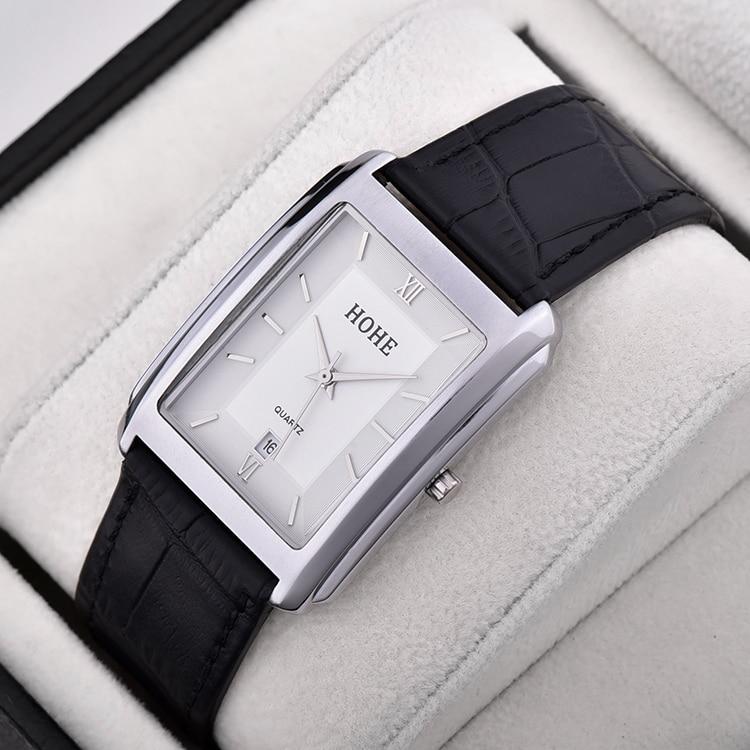 Korean style Men s Watch Rectangular Ultra thin Waterproof Belt Quartz Watch Calendar Students Business Leisure