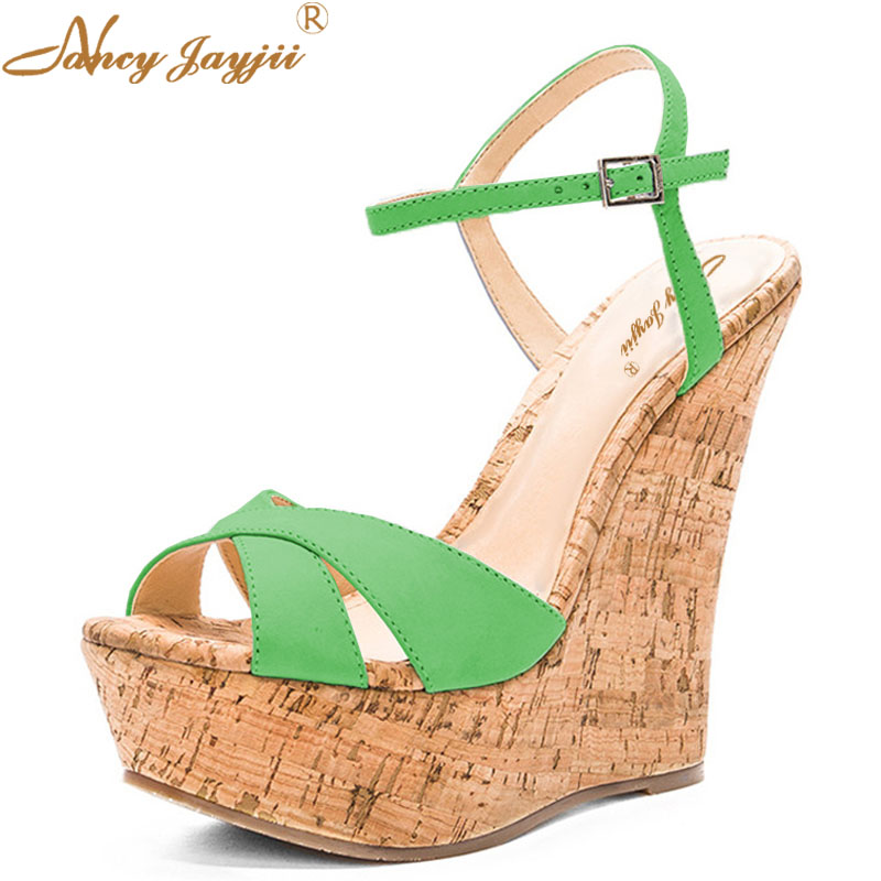 2e8ca592f Summer Famous Brand Green Wooden Wedges Sandals Ladies Shoes Woman Platform  Ankle Strap Shoes Casual Dress