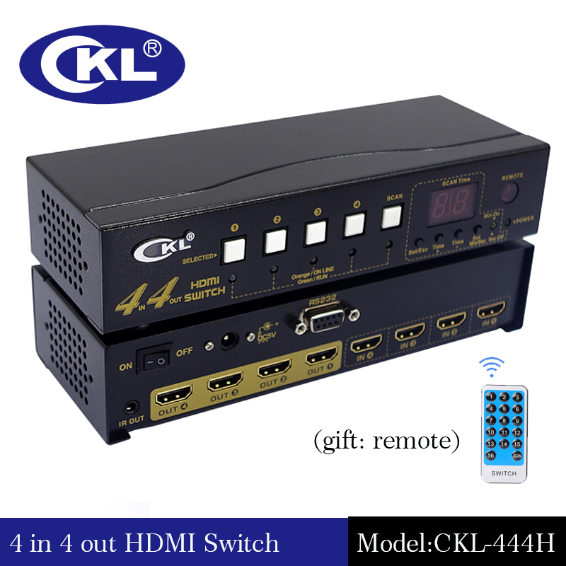 CKL-444H High Quality 4 In 4 Out HDMI Switch Splitter IR Remote RS232 Support 3D 1080P For PS3 PS4 Xbox 360 PC DV DVD HDTV