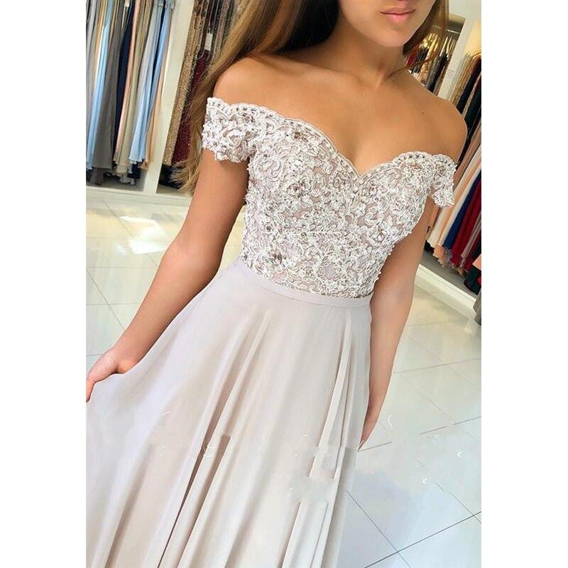 Elegant Chiffon   Prom     Dress   2019 Off Shoulder Appliques Lace Bodice Cheap Evening Gown vestidos de fiesta