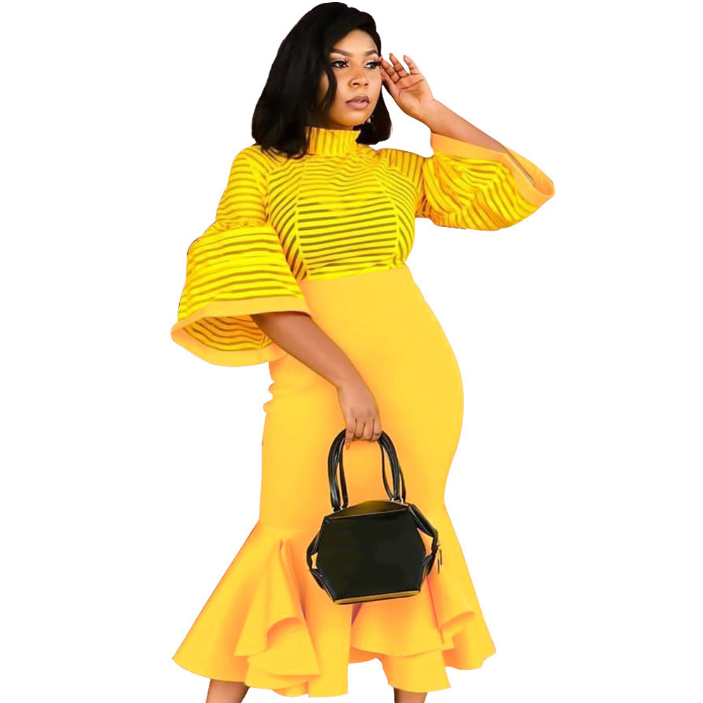 2019 African Dresses For Women African Clothes Maxi Long Black Yellow Dress Africa Outfit Dress Gown Elegant Lady Mermaid Robe in Dresses from Women 39 s Clothing