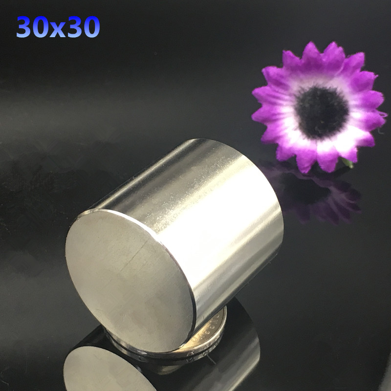 Free shipping 1pcs Dia 30x30mm Round NdFeB Neodymium Disc Magnets N35 Super Powerful Strong Rare Earth NdFeB Magnet 30*30 mm