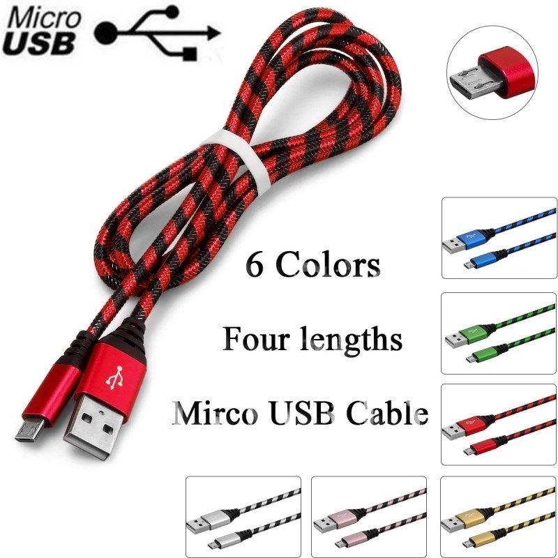 Galleria fotografica 0.2 M 1 M 2 M 3 M Nylon Intrecciato Micro USB di Ricarica Veloce Cavo di Sincronizzazione di dati di Carico del Caricatore del Cavo cabel fro samsung <font><b>lg</b></font> ecc