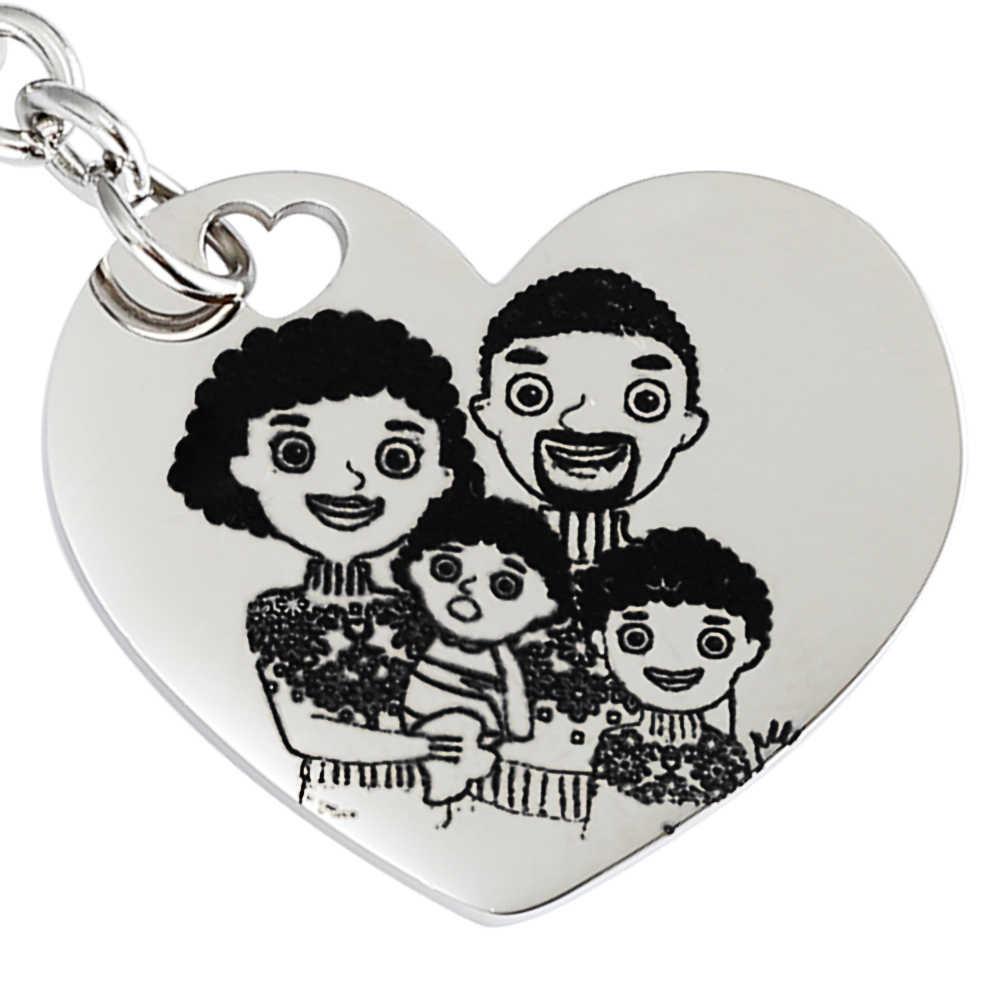 MYLONGINGCHARM foto grabado llavero personalizar llavero regalo de San Valentín regalo familiar regalo del Día del Padre