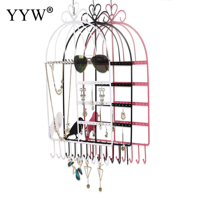 Creative Earring Necklace Chain Organizer Holder Metal Bird Stand Hanging Display Stands Rack Vintage Wall Jewelry Accessories