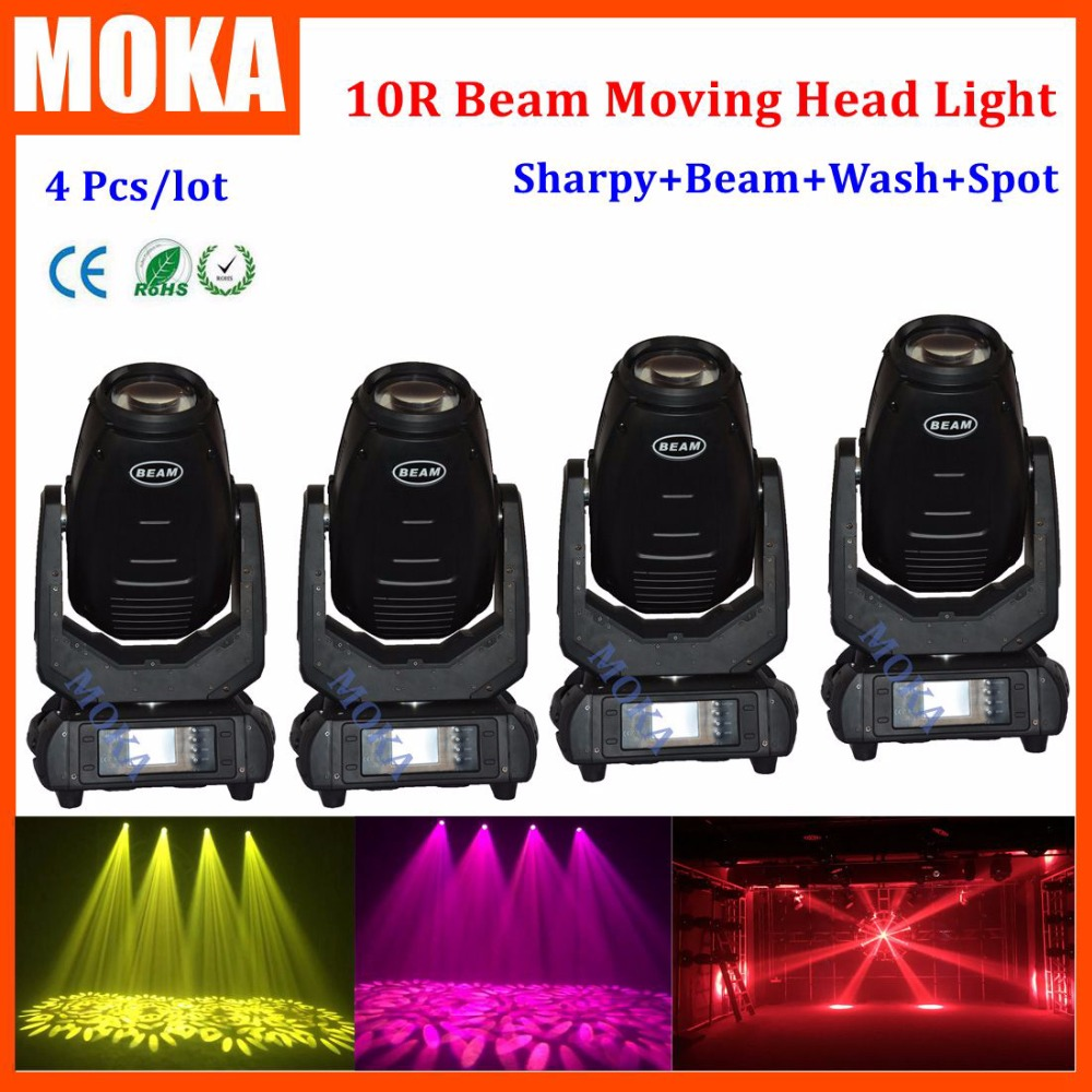4 pcs/lot 10R 280W beam moving head light With O-S-R-A-M Lamp 16/24DMX Channels 8 Facet Prism Stage Light For Party DJ Show r o c s baby 0 3 лет в ассортименте r o c s рокс