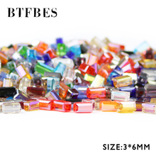 цены BTFBES Rectangle Austrian Crystal Beads 3*6mm 80pcs AB Square Shape Spacer Loose Beads For Jewelry Making Bracelet Necklace DIY