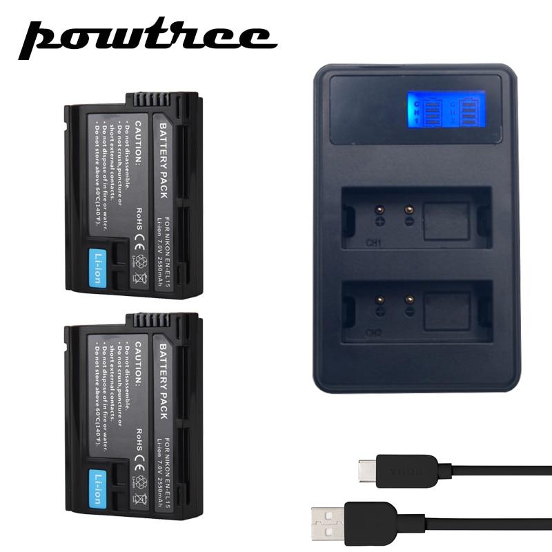 2Pcs EN-EL15 EN EL15 ENEL15 EL15A Batteries + LCD Dual USB Charger for Nikon D600 D610 D600E D800 D800E D810 D7000 D7100 d750 V1 3pcs 1900mah en el15 enel15 el15 battery led usb dual charger for nikon d500 d600 d610 d750 d7000 d7100 d7200 d800 d800e d810