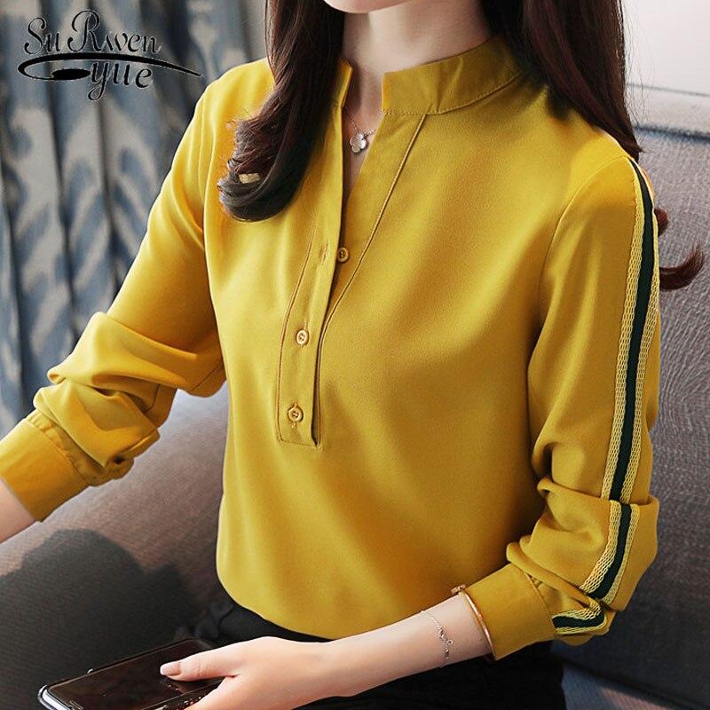 fashion women blouses 2019 long sleeve women tops office lady blouse yellow white chiffon women blouse shirt tops blusas D430 30