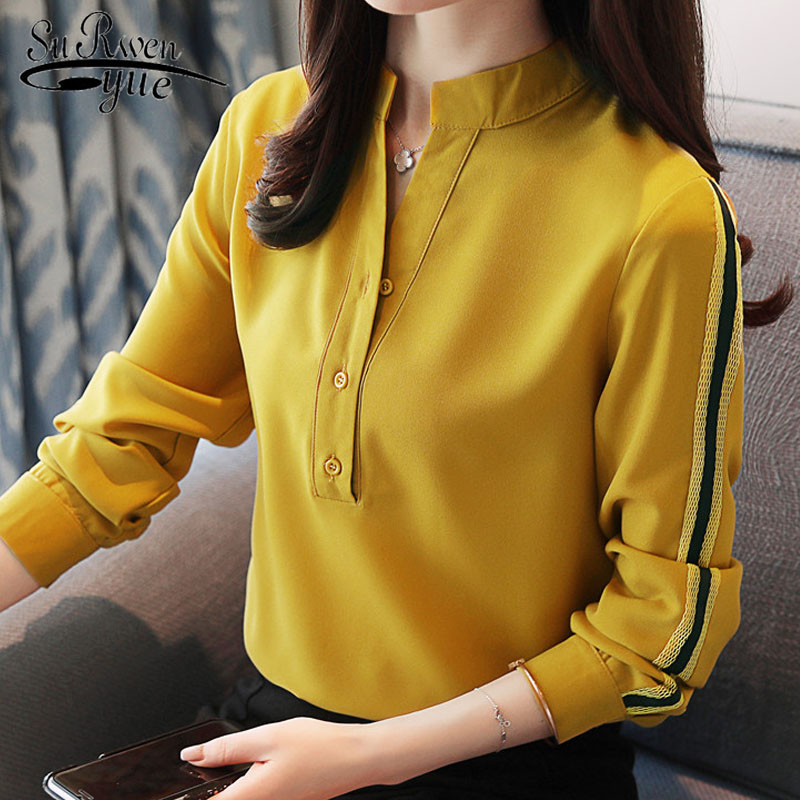 fashion women   blouses   2019 long sleeve women tops office lady   blouse   yellow white chiffon women   blouse     shirt   tops blusas D430 30