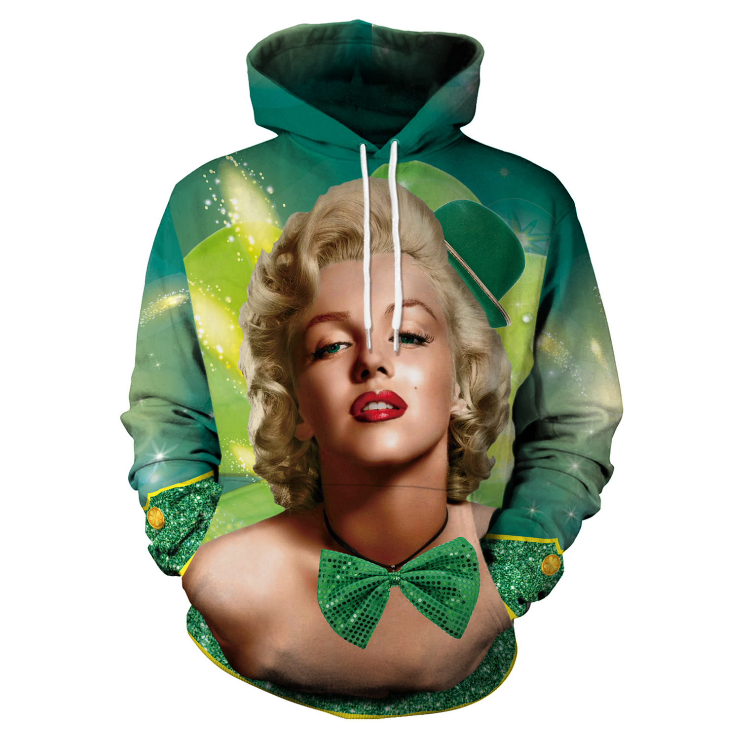 St Patrick's Day Green Shamrocks Monroe Print Hoodies Men Hoodie with Hat Round Neck Loose Sweatshirt Pullover Streetwear