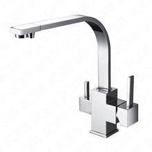 Rolya роскошные 3-х полосная Tri-flow смеситель кухонный кран питьевой воды фильтр нажмите
