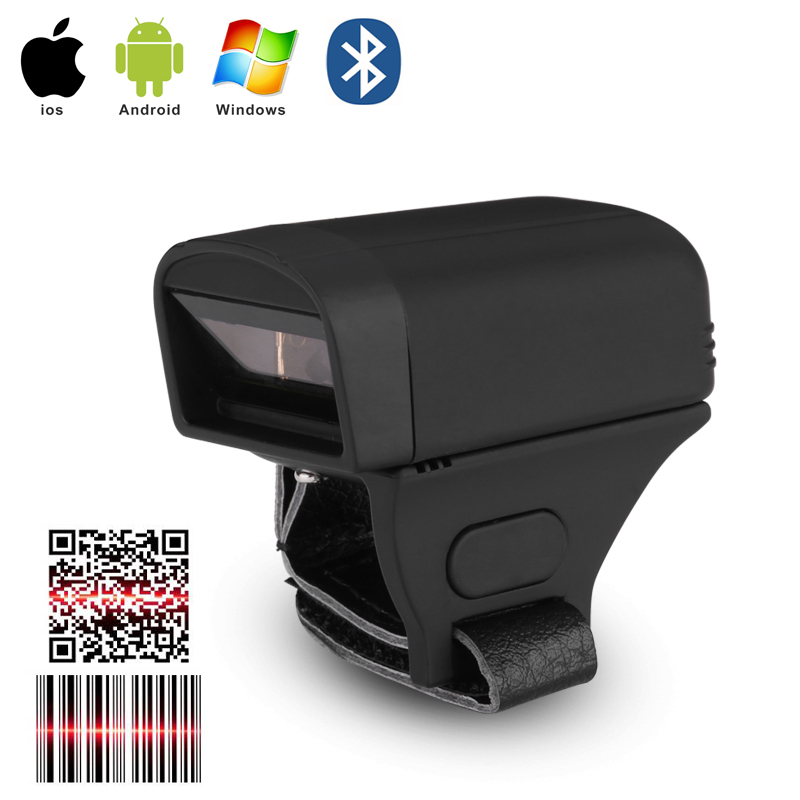 Portable Handheld Bluetooth Wireless Ring Finger Mini 1D Barcode Scanner title=