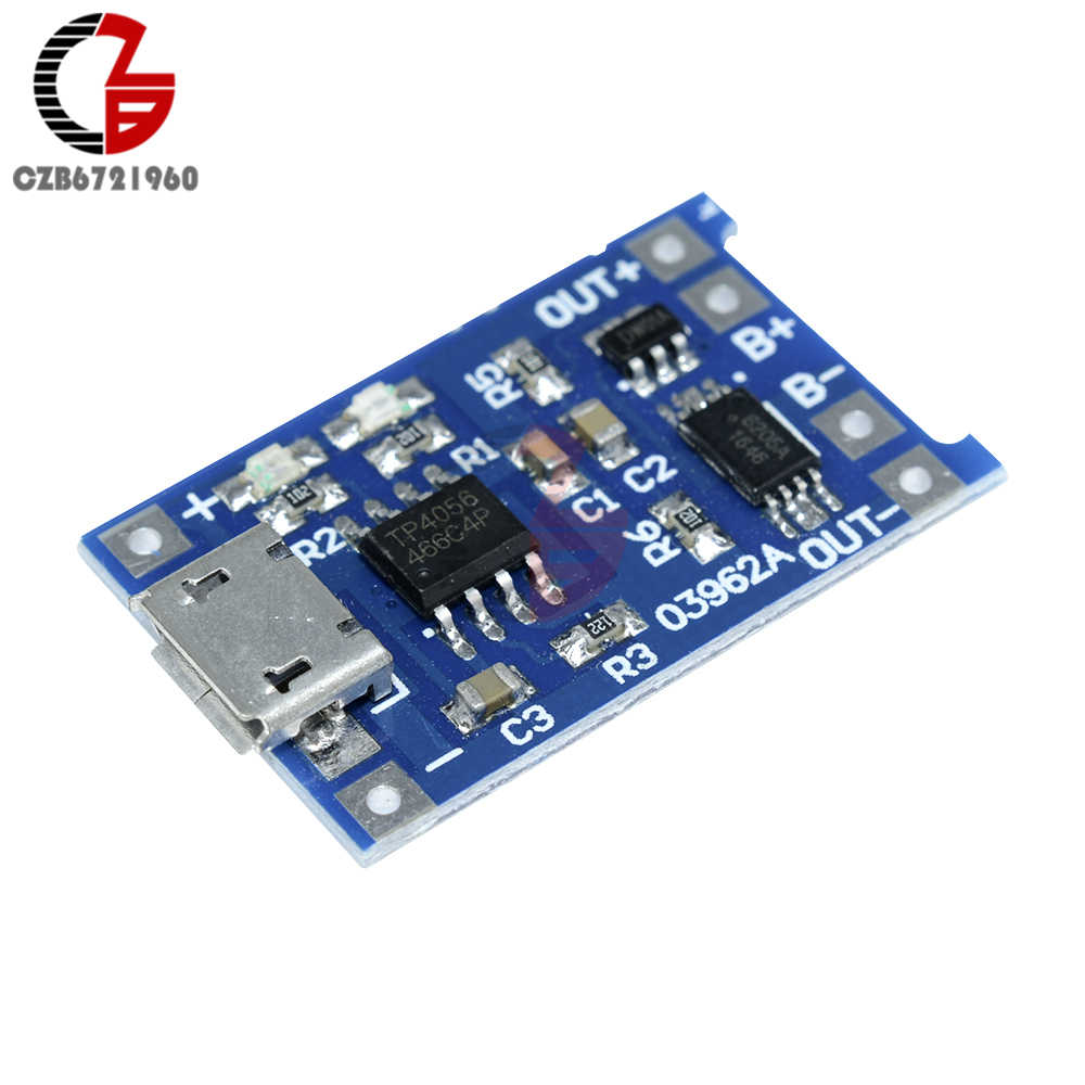 DC 5V 18650 TP4056 Lithium Battery Charging Module Protection Board with Micro USB Mic Function 1A Adjustable LED Indicate