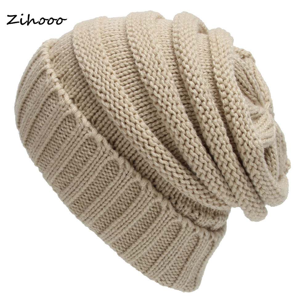 Hot Knit Hat Mens Womens Baggy Beanie Winter Warm Protective ear Wool Hat Ski Slouchy Chic Crochet Knitted Cap Skull H05