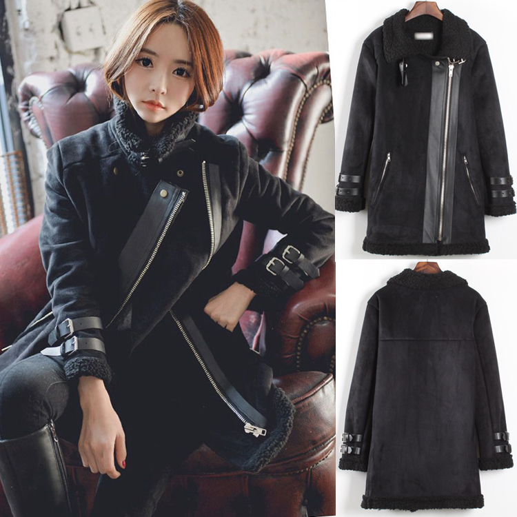 Winter Women Shearling Coat Faux   Suede     Leather   Jacket Famale Fashion Turn-down Thicken Warm Lambs Wool Motorcycle Bobmer Coat