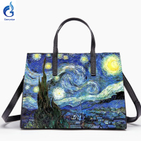 Gamystye 2018 New Graffiti totes design bags hand paint skull handbags Women bags Genuine leather shoulder bag