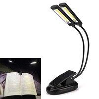 Flexível Clipe Na Luz do Livro Recarregável USB Dupla Luzes LED Lâmpada de Leitura Desk Table Portátil Music Stand Lâmpadas de Orquestra
