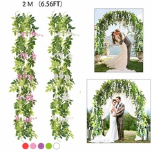 2m Wisteria Artificial Flowers Vine Garland Wedding Arch Decoration Fake Plants