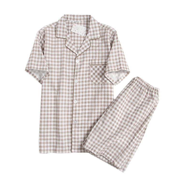 Summer 100% Cotton Plaid Mens Pajama Sets Casual Short-sleeve V-neck Home Sleepwear Indoor Shorts Pyjamas Sets For Men