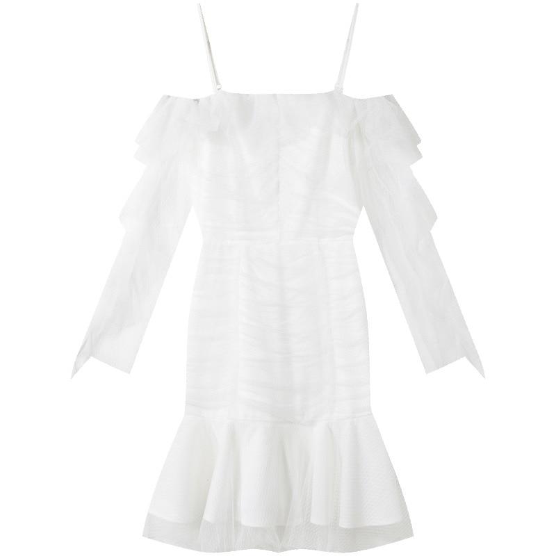 2019 Sexy Encolure Haute Qualité Maille Ruches Blanc Européenne Printemps Piste Femmes Robe Mini Designer 0dEZqdHw