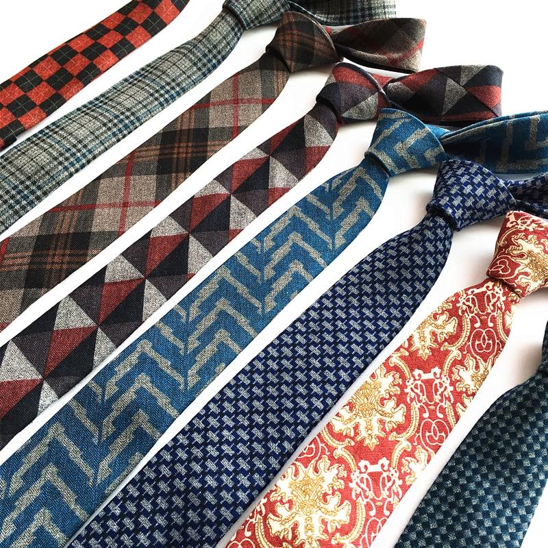 SHENNAIWEI Högkvalitativa vävda ull slipsar 6 cm slim, smal smal corbata linnepläterad slips Cashmere gravata ankomst lote