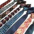 SHENNAIWEI tejido de lana de Alta calidad lazo de los hombres corbata 6 cm corbata flaca estrecha delgada de lino gravata corbata a cuadros de Cachemira llegada lote