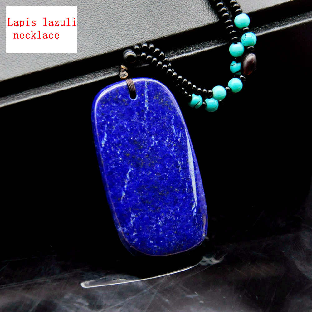 Natural Stone Square Necklace Pendant Ball Tiger Eye Lapis Lazuli Men Reiki Lapis Lazuli Necklace Beads Chain Fine Jewelry Gift
