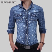 Envmenst 2017 New Arrival Autumn Men S Casual Star Printed Long Sleeve Denim Shirts Men Fashion