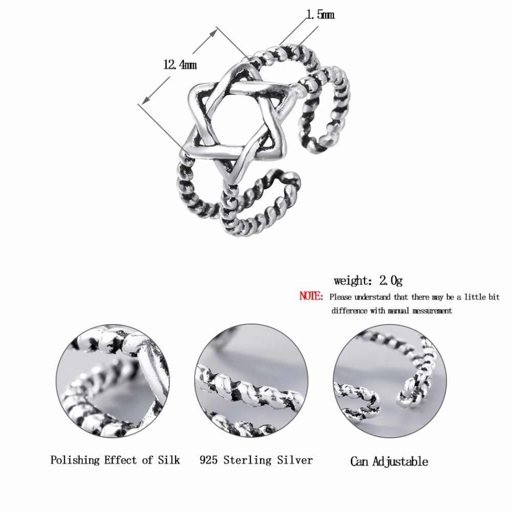 Kinitial 1 шт. 925 серебро Twist звезда Кольца Давида звезда кольцо для Для женщин свадебные Регулируемая палец hexagonalring ювелирные изделия