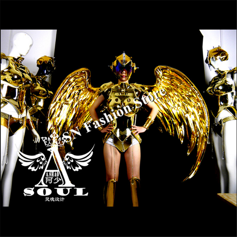 ES001Gold mirror dance dress/costumes/ Performance <font><b>wings</b></font> clothing <font><b>LED</b></font> lady Dance catwalk model catwalk events/bar party supplies