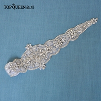 TOPQUEEN S349 Wedding Sash High Quality Modest Special Occasion Waistband Crystal Bead Bridal Belts Sash for Formal Dress