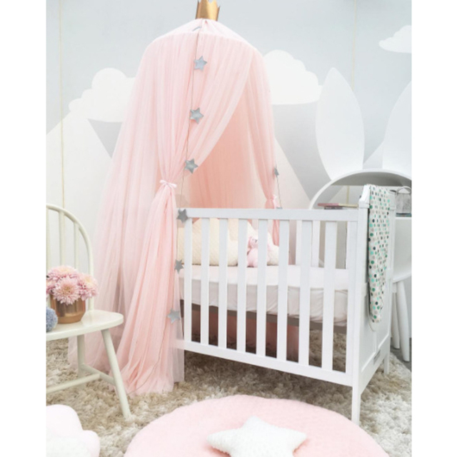 Kids Play House Tents Princess Canopy Bed Curtain Baby Crib Netting Round  Hung Dome Mosquito Net