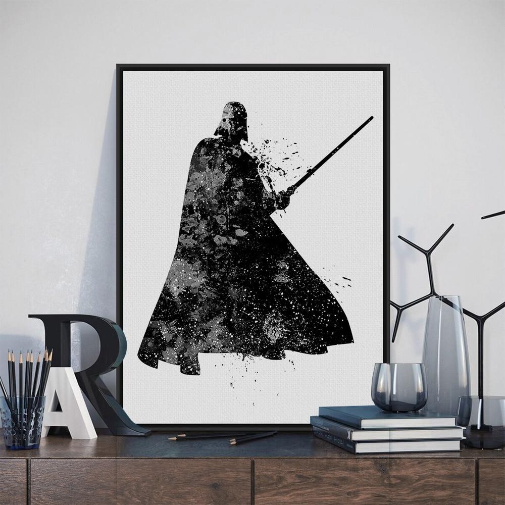 173 37 De Réductionaquarelle Noir Blanc Star Wars Dark Vador Pop Film Art Imprimer Affiche Mur Photo Toile Peinture Pas De Cadre Décor à La