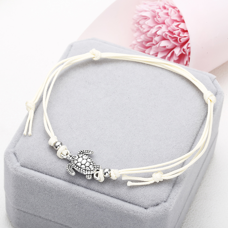 NS37 Summer Beach Turtle Shaped Charm Rope String Anklets For Women Ankle Bracelet Woman Sandals On the Leg Chain Foot Jewelry 3