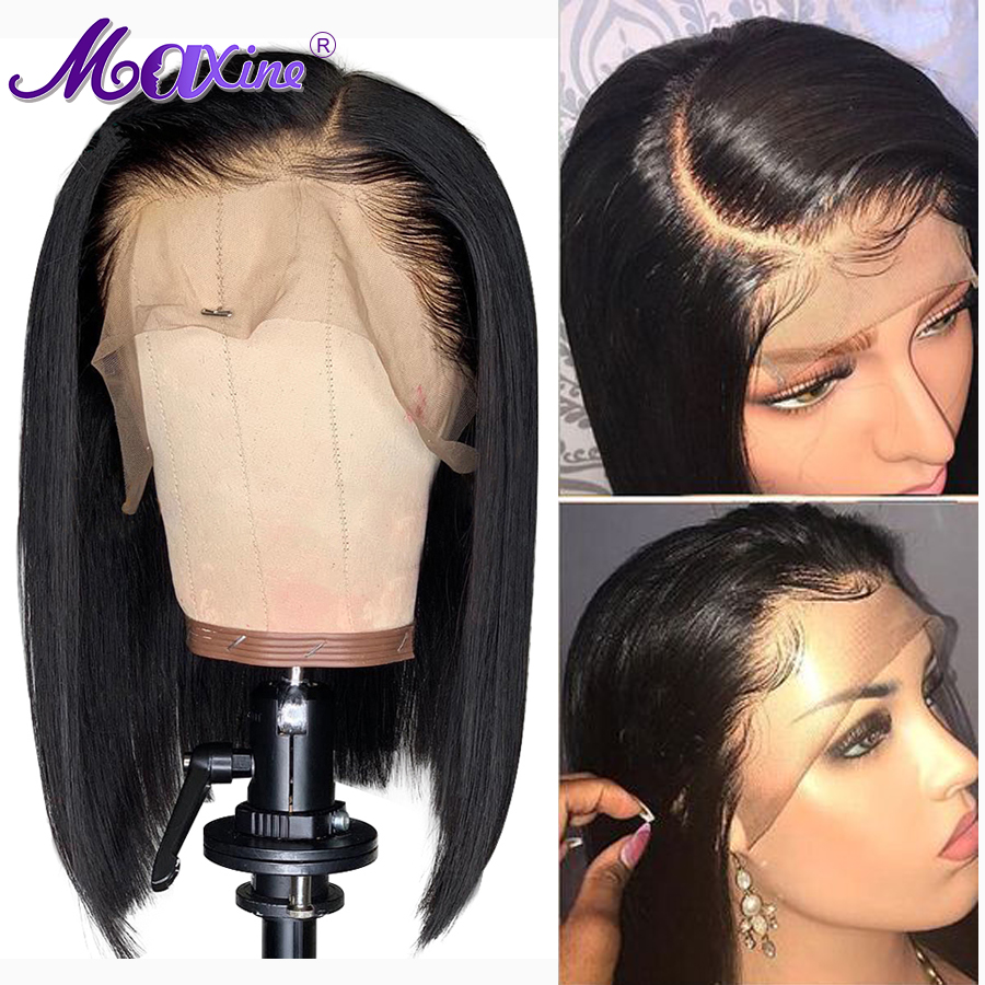 Short Bob Lace Front Human Hair Wigs For Black Women Peruvian Remy Blunt Cut Bob Wig
