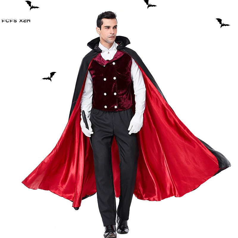 Halloween Vampire costumes pour hommes Dracula effrayant Cosplays pourim carnaval parade discothèque Bar mascarade masqué bal fête robe
